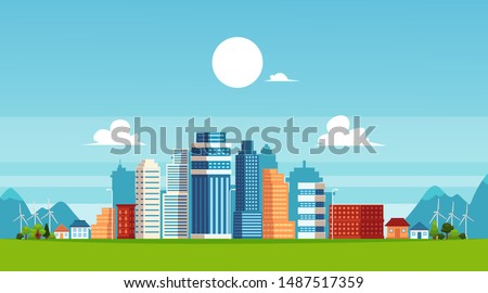 Urban landscape with high skyscrapers and suburb private buildings on a background of mountains and hills the flat vector illustration. Concept of city and suburban life.