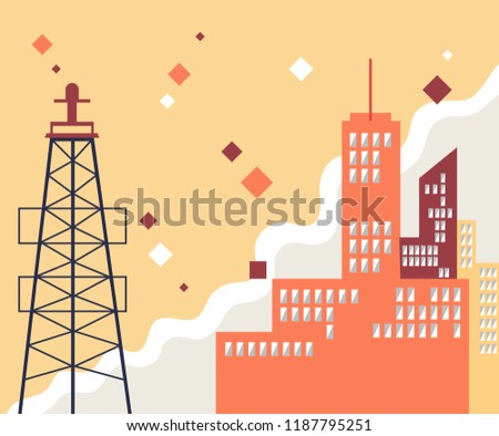 Urban landscape with large modern buildings and suburb with private houses on a background.Flat illustration business, plant. Perfect for web design.