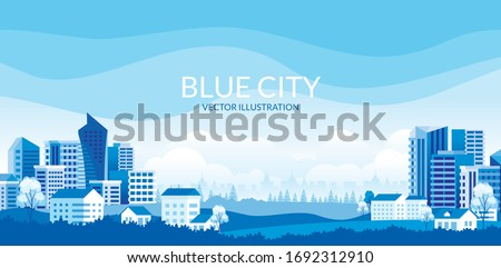 Urban landscape with modern buildings, skyscrapers and suburb with houses, Trees, mountains and hills. simple minimal geometric flat style with blue color theme.