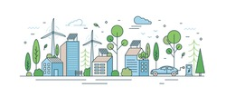 Urban landscape with modern eco friendly technologies vector illustration in line art style. Cityscape architecture with solar energy on roof, wind power, and electric transport isolated on white