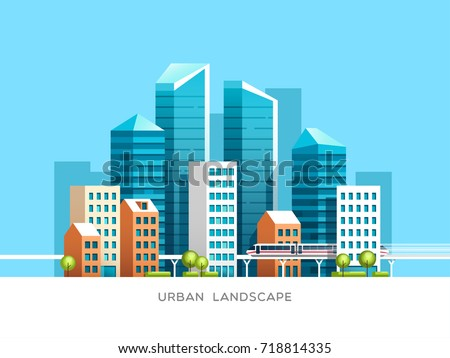 Urban landscape with skyscrapers and subway. Vector illustration.