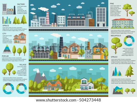 urban life infographics with