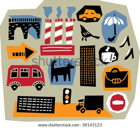 Urban-life. The set of 16 cut-out design elements with illustration of modern city life. All elements are individual objects. Colored vector illustration.