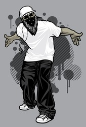 Urban Male Tshirt Model Vector illustration of a young urban male model posing in a white t-shirt, baggy black pants, and white ball cap in front of graffiti design elements in the background