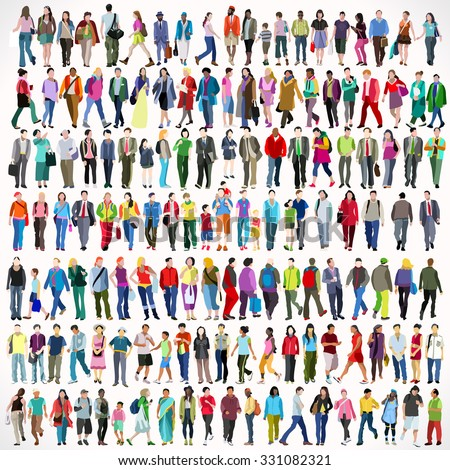 Urban Multiethnic People Collage Large Set Colorful Flat Icon Set Isolated Walking Female and Male People Characters. Asiatic British African Indian Young Adult Boys and Girls Collage Vector Image.