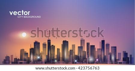urban  night city skyline in