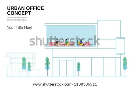 Urban Office Concept. Can use for Annual Report, Landing Page, Web, Infographics, Editorial, Commercial Use And Others. Vector.  - Shutterstock ID 1138306511