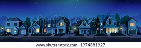 Urban or suburban neighborhood at night, houses with lights, late evening or midnight. Vector homes with garages,trees and driveway. Suburb village landscape with cottage buildings, street lamps Foto stock ©