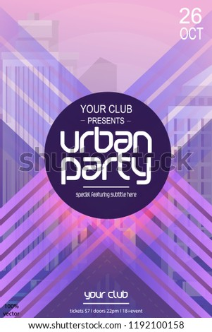 Urban party vector poster template with city background and geometric shapes. Vector EPS 10