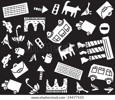 Urban pattern. Seamless pattern about urban life. But every object can be used separately. - stock vector