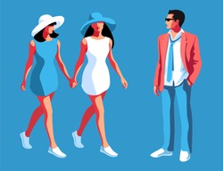 Urban people in summer casual clothing. Two young women and one man in full  height standing face to face. Blue background. Vector illustration