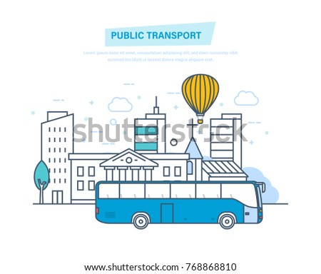 Urban public transport, cityscape, high skyscrapers, low houses on city street. Blue passenger bus traveling along road. Travel, vacation, leisure. Illustration thin line design of vector doodles.