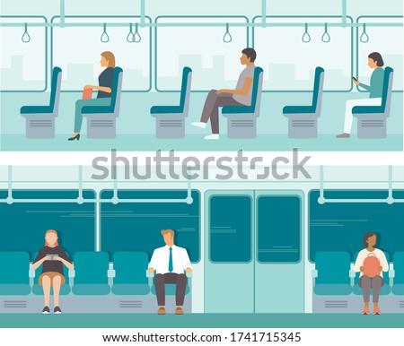 Urban public transport. Passengers inside tube car, bus or tram.City Passengers Transportation. Flat vector illustration set Foto stock ©
