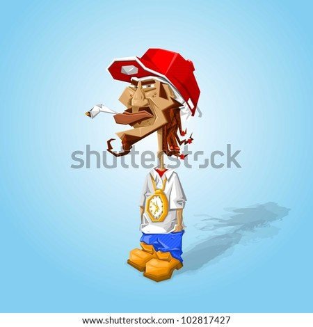urban rapper hanging around, chilling,vector character