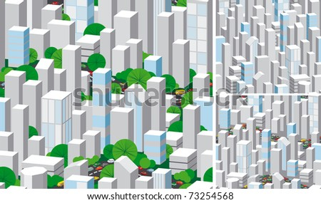 Urban seamless. Three vector seamless patterns of modern city with skyscrapers, many cars and trees.