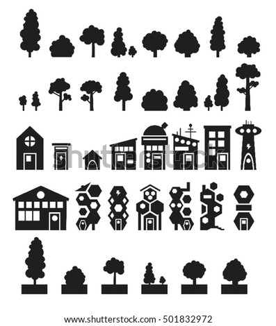 urban silhouettes of trees and