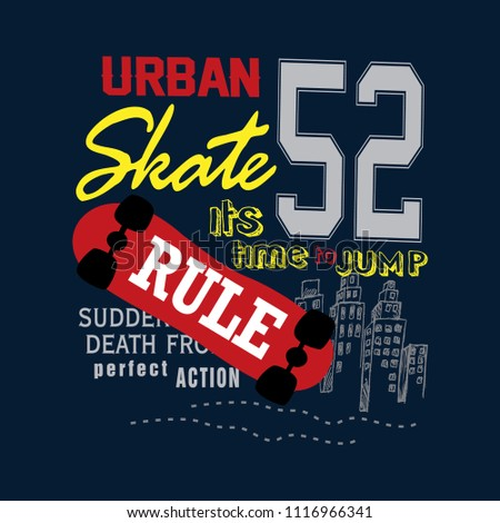 urban skate t shirt design vector for t shirt and other use