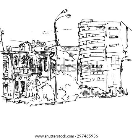 urban sketch  city street with...