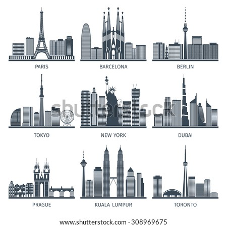 urban skylines black white
