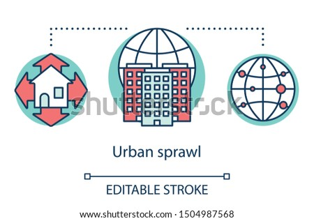 Urban sprawl concept icon. Growth of cities. Urbanization. Expansion of megalopolises. Urban housing. Thickly settled area idea thin line illustration. Vector isolated outline drawing. Editable stroke