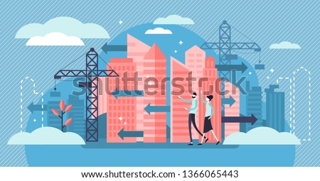 Urban Sprawl vector illustration. Flat tiny building construction persons concept. Unrestricted urban housing and city chaos. Negative suburban landscape plan future. Megacity rental prices challenge.