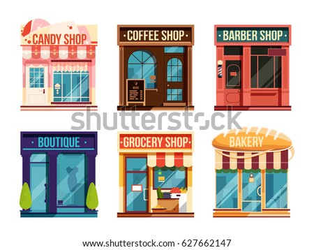 d4e1baad229 Urban stores set isolate on white background. Business retail. Vector  illustration. Flat facade