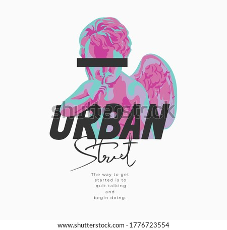 urban street slogan with baby angel sculpture graphic illustration Stock photo ©