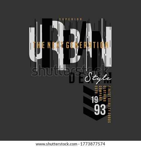 urban street stylish text frame, abstract  typography slogan t shirt style, design vector illustration, denim vintage for ready print Foto stock ©