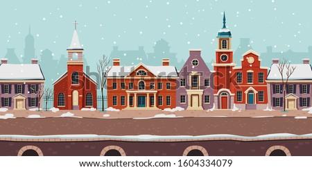 urban street winter landscape