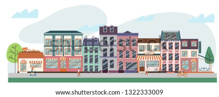 Urban street with different shops and stores, including bakery, coffee shop, restaurant, market. Vector illustration of strip mall shopping center. Photo stock ©