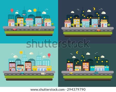 urban streets at day and at