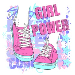 Urban style modern t-shirt with girl in sneakers and graffiti. Grunge style illustraton for teen girl.