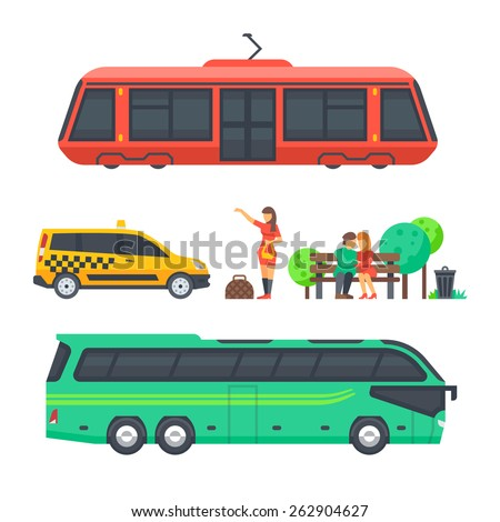 Urban Surface Transportation and passengers. Tram, taxi and bus.