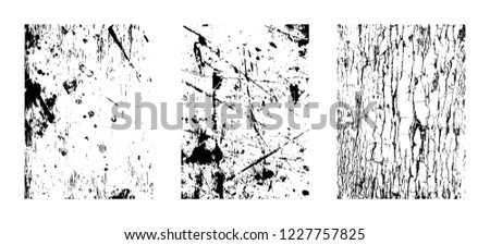 Urban textures, abstract grunge backdrops clipart collection isolated on white background. Vector collection of design elements: brush strokes, wavy lines, wood texture, grainy overlay patterns.