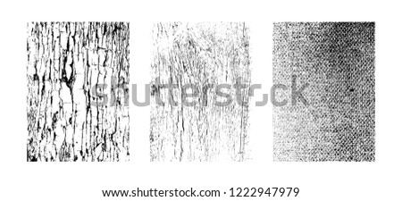 Urban textures, abstract grunge backdrops. Vector clipart collection isolated on white background. Artistic collection of design elements: wavy lines, fabric texture, grainy overlay patterns.
