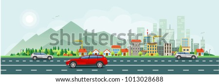 Urban traffic and office buildings wallpaper. Horizontal vector design.