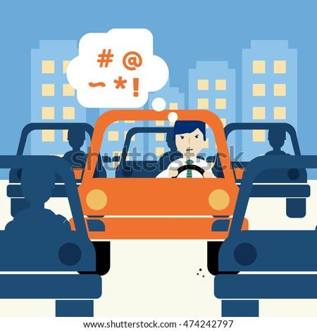 Urban traffic jam concept illustration.