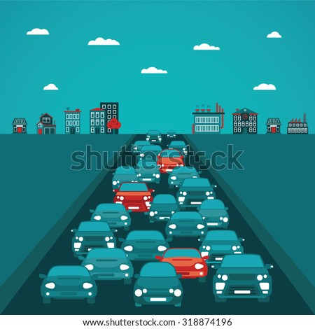 urban traffic vector concept in