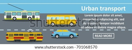 Urban transport banner horizontal concept. Flat illustration of urban transport banner horizontal vector concept for web