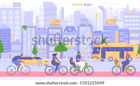 Urban transport, city travel vector illustration. Happy people on bicycles outdoors cartoon characters. Personal and public vehicles. Taxi cab and bus on road, citizens cycling on sidewalk