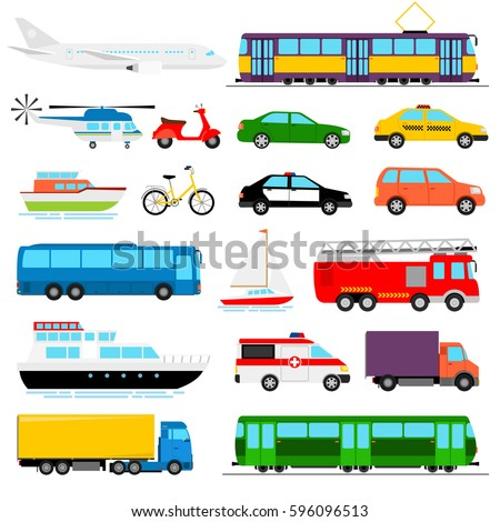 Urban transport colored vector illustration. City transportation and transporter isolated on white background - Shutterstock ID 596096513