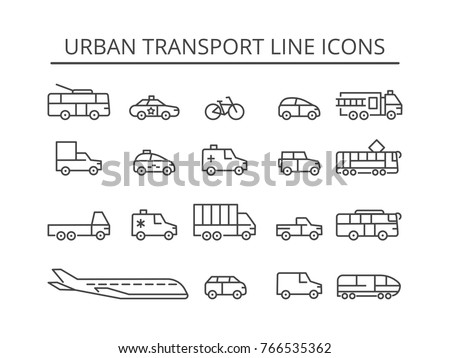 Urban transport thin line icons set. City vehicle vector collection