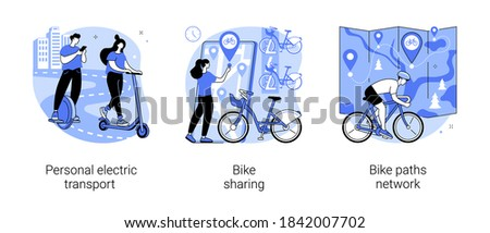 Urban transportation abstract concept vector illustration set. Personal electric transport, bike sharing, bike paths network, scooter rental application, book ride online, city map abstract metaphor.