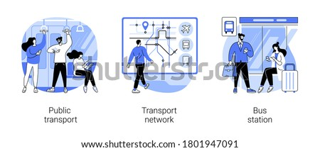 Urban transportation abstract concept vector illustration set. Public transport, transport network, bus station, buy ticket, car traffic, smart city, rush hour, passenger abstract metaphor.
