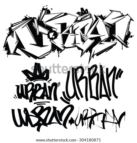 Urban typography graffiti tags