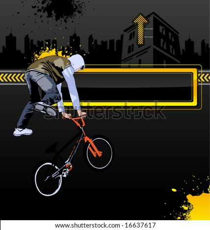Urban vector background with bicycle and a man