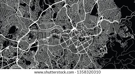 Urban vector city map of Belo Horizonte, Brazil