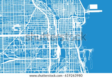 Urban vector city map of Chicago, USA
