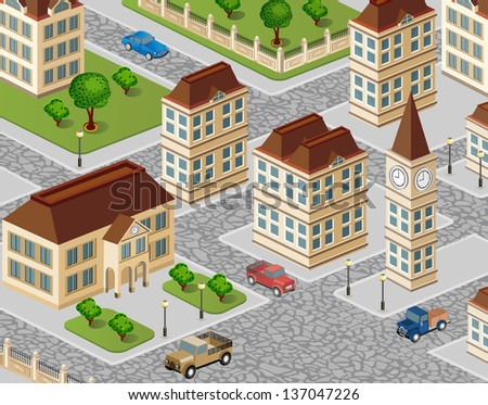 Urban view with houses and cars