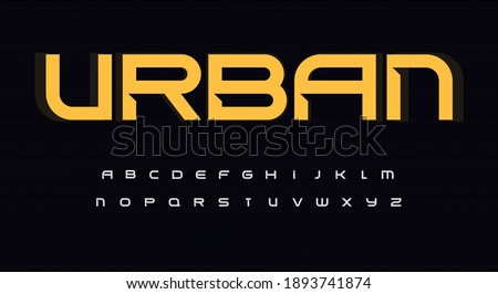 Urban wide alphabet. Sans serif font with bevel, minimalist type for modern futuristic logo, headline, monogram, urbanistic lettering and maxi typography. Expanded letters, vector typographic design